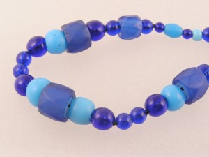 Trade Bead Necklace made of Sky Blue Padres, Blue Russians and cobalt Czech Beads