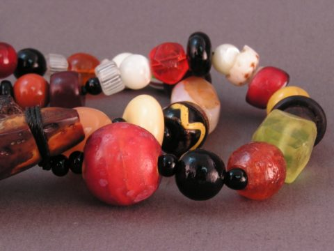 20mm Cornaline d'Aleppo bead on necklace with mixed Venetians