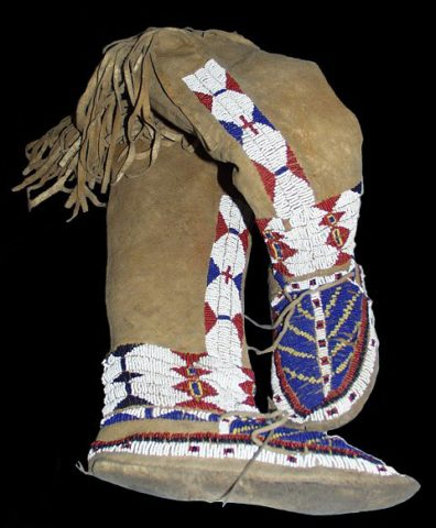 Shoshone Moccasins, 1878, with seed beads decoration