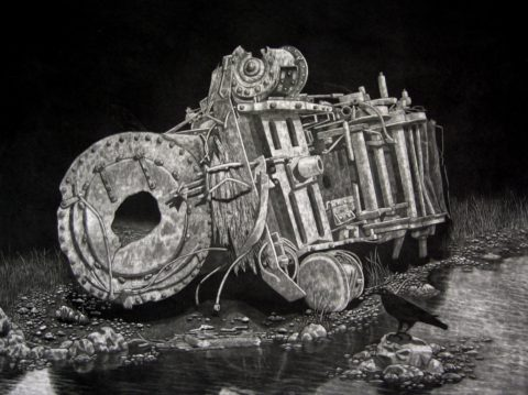 Steam Engine Mezzotint by Chris Nowicki