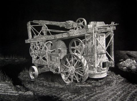 Steam Tractor Mezzotint by Chris Nowicki