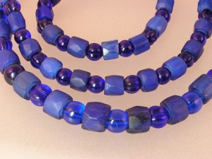 Graduated Strand of Russian Blue Trade Beads
