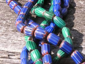 green chevron trade beads